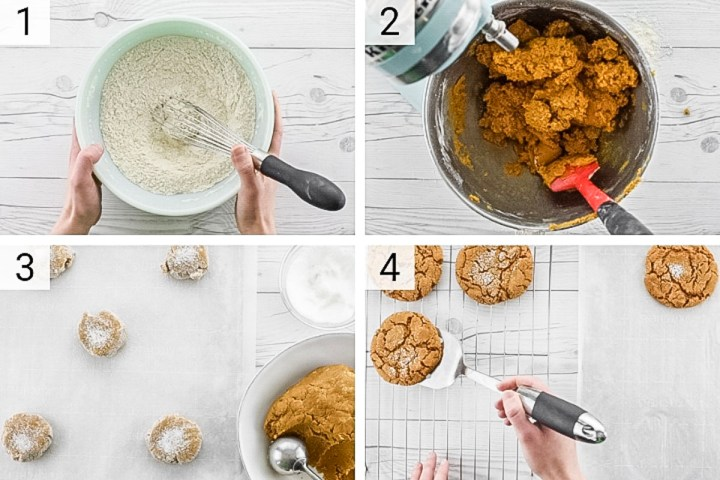 process shots of how to make ginger cookies
