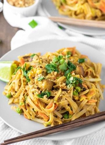 pad Thai on plate with chopsticks