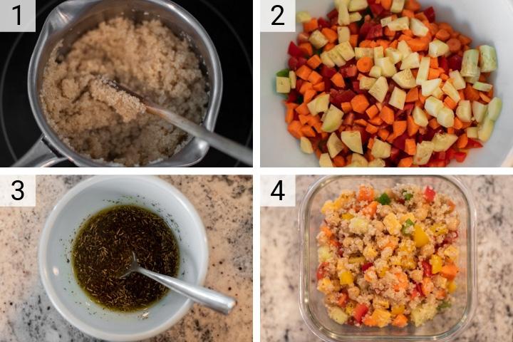 process shots of how to make summer quinoa salad