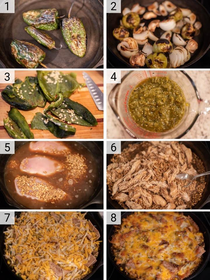 process shots of how to make chicken enchilada skillet