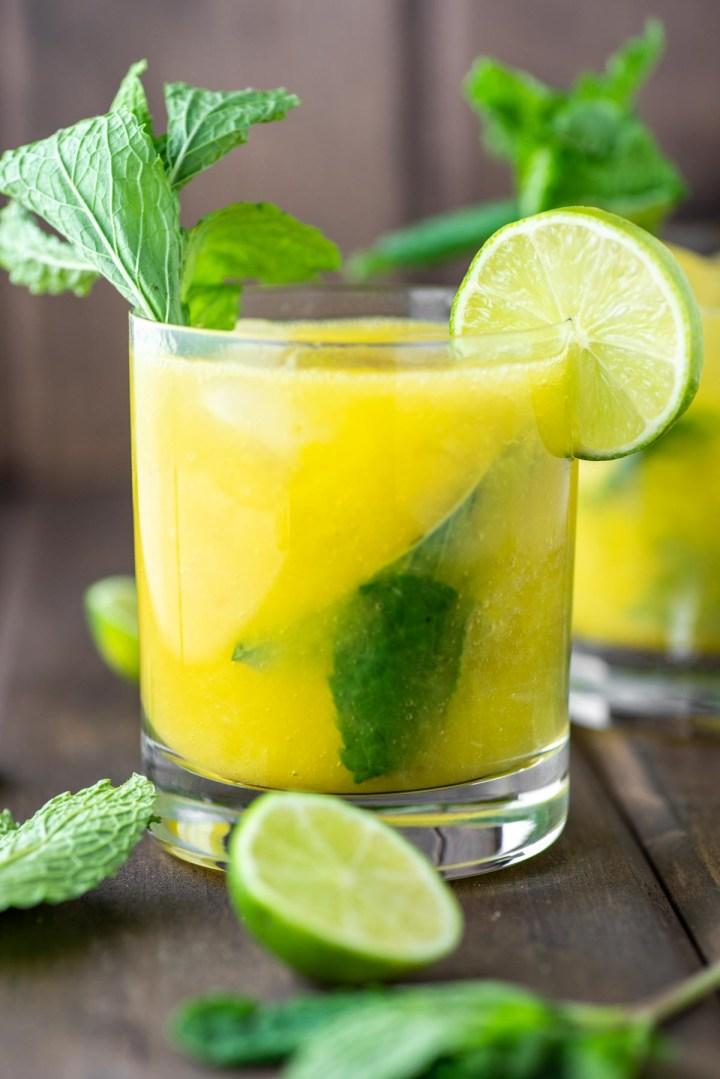 mango mojito in glass