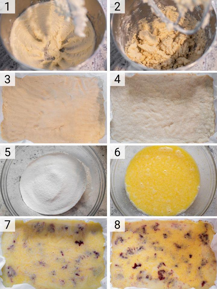 process shots of how to make strawberry lemon bars