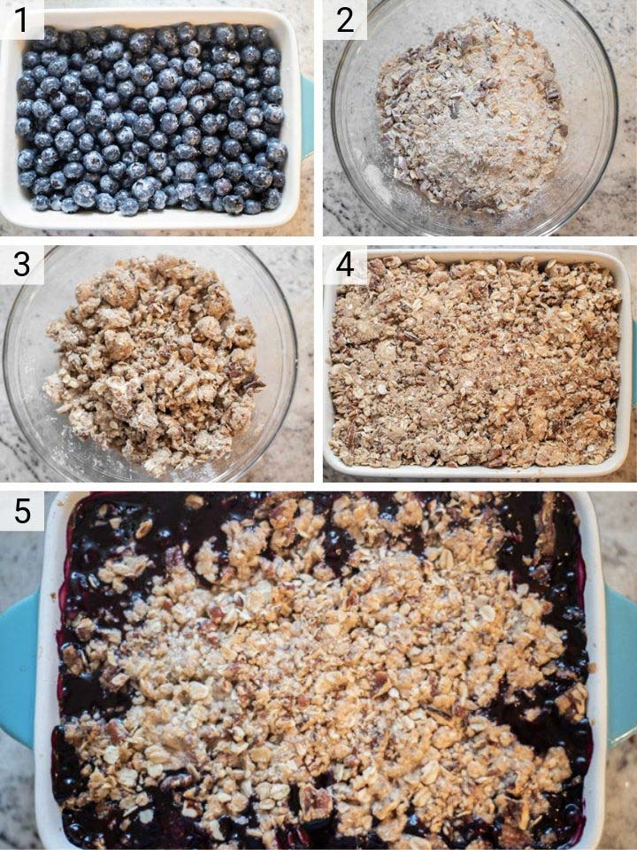 process shots of how to make blueberry crisp
