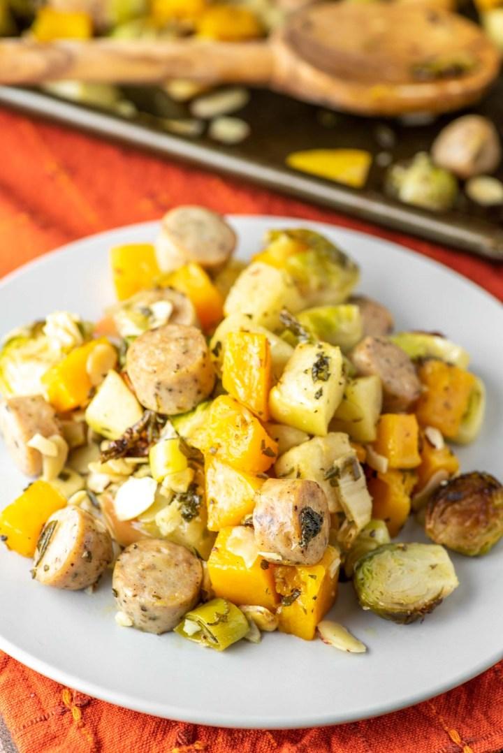 autumn sheet pan sausage and veggies on plate