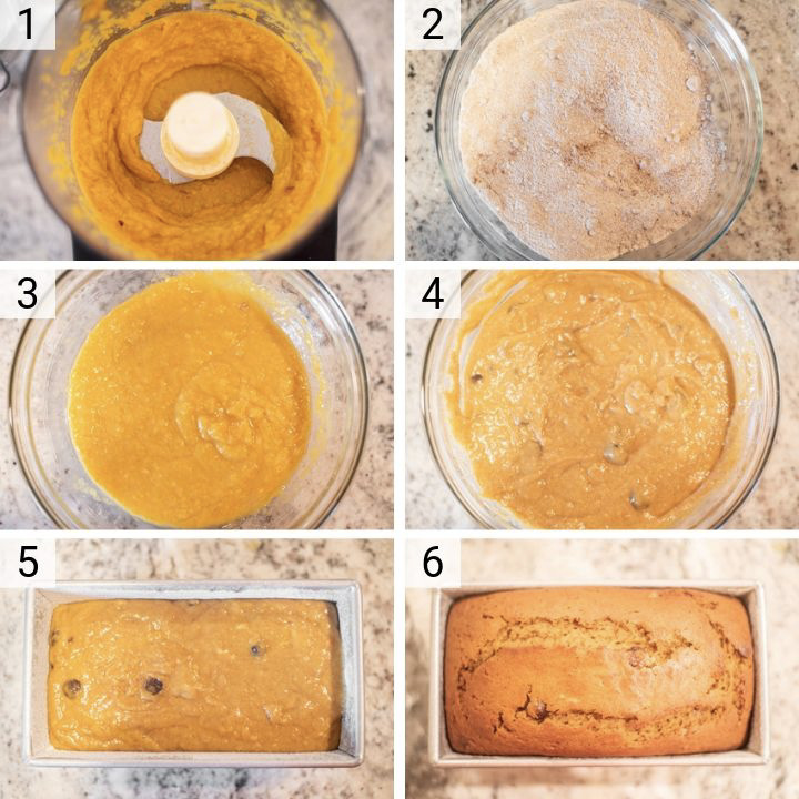 process shots of how to make butternut squash bread