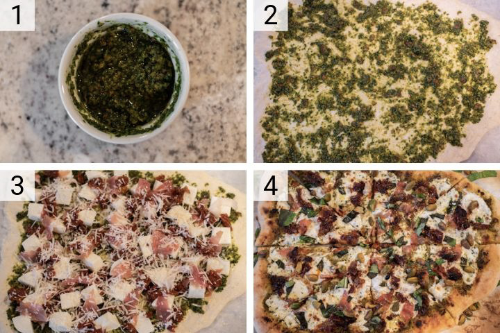 process shots of how to make prosciutto pesto pizza