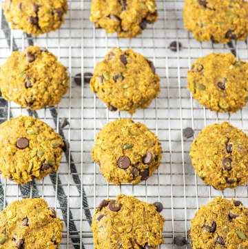pumpkin breakfast cookies on wire rack
