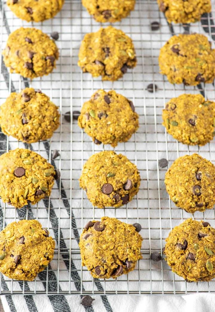 pumpkin breakfast cookies on wire rack