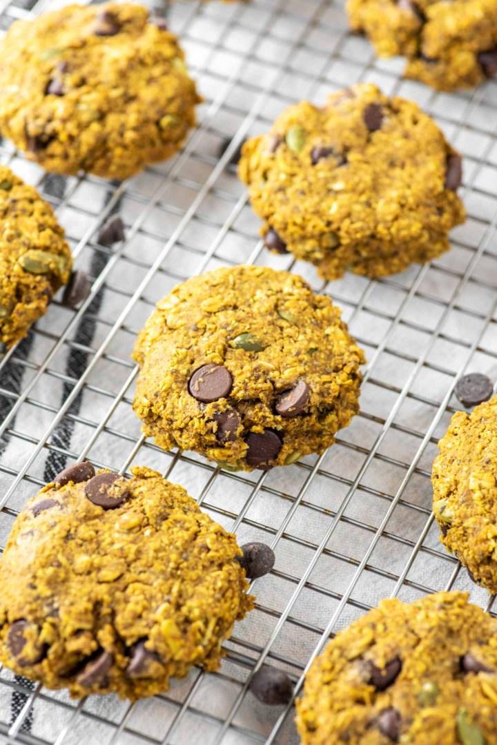 pumpkin breakfast cookies on cooling rack
