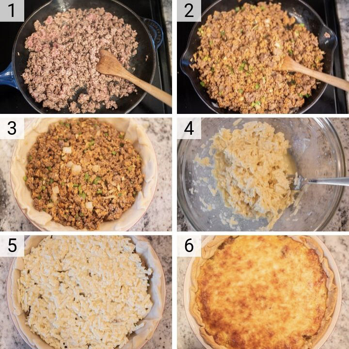 process shots of how to make cheeseburger pie
