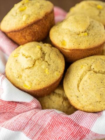 cornbread muffins in bread basket
