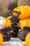 chocolate pumpkin cups stacked