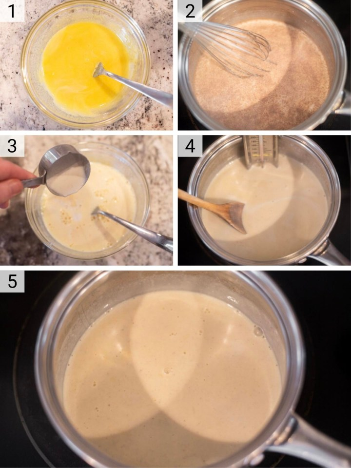 process shots of how to make homemade eggnog