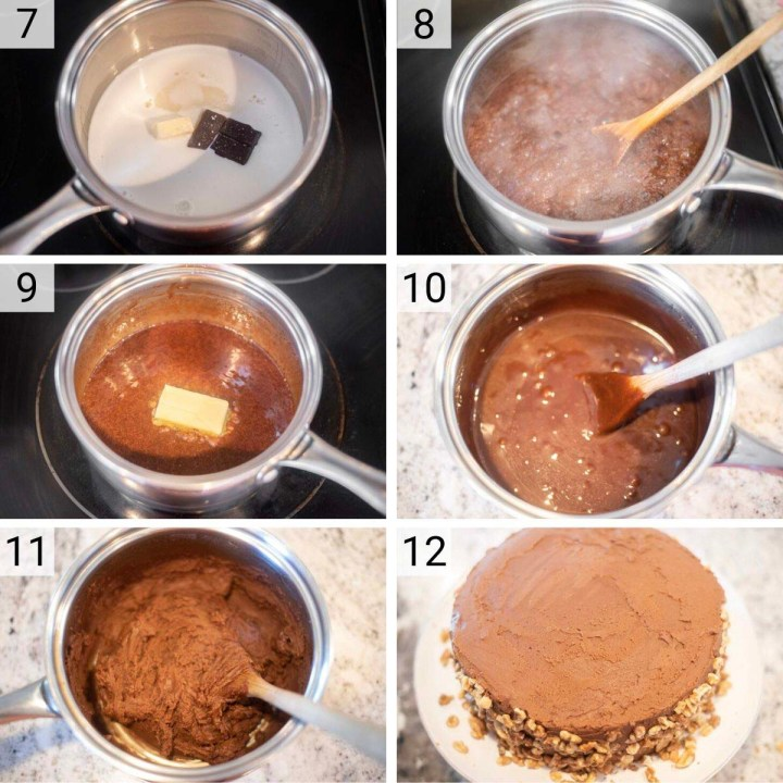 process shots of how to make chocolate fudge frosting