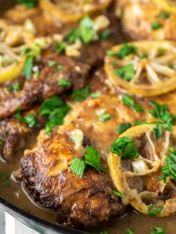 chicken francese in cast iron skillet