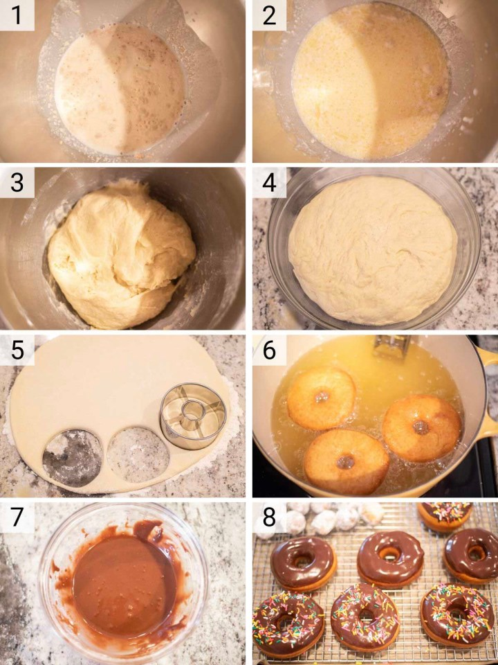 process shots of how to make chocolate frosted donuts