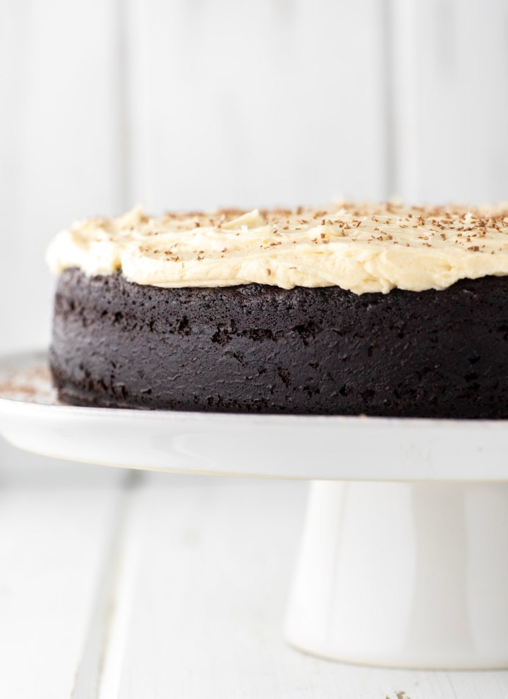 Guinness chocolate cake on white stand