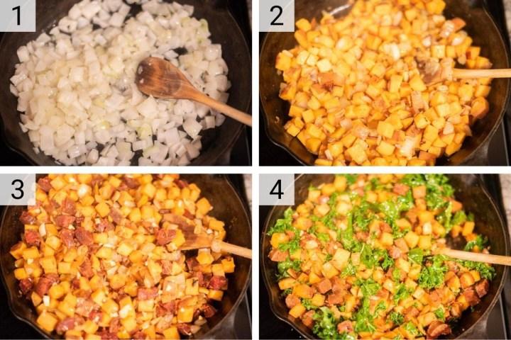 process shots of how to make chorizo sweet potato hash