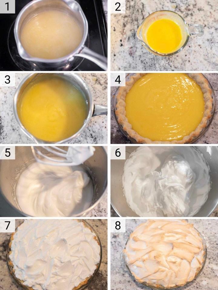 process shots of how to make lemon meringue pie