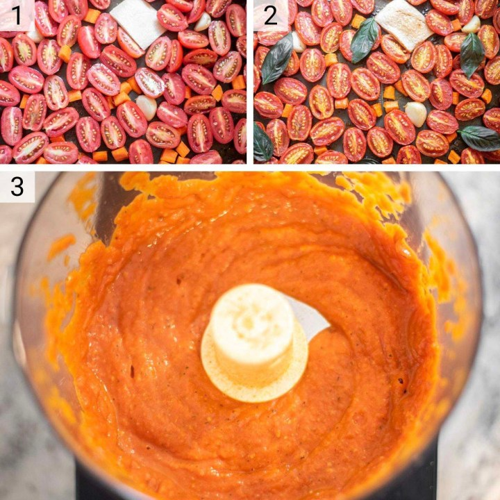process shots of how to make roasted tomato sauce