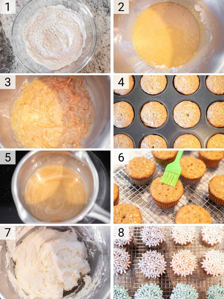 process shots of how to make carrot cake cupcakes