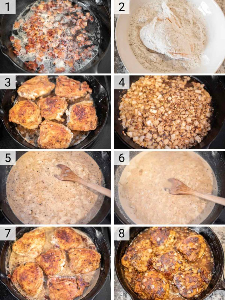 process shots of making chicken with white wine sauce