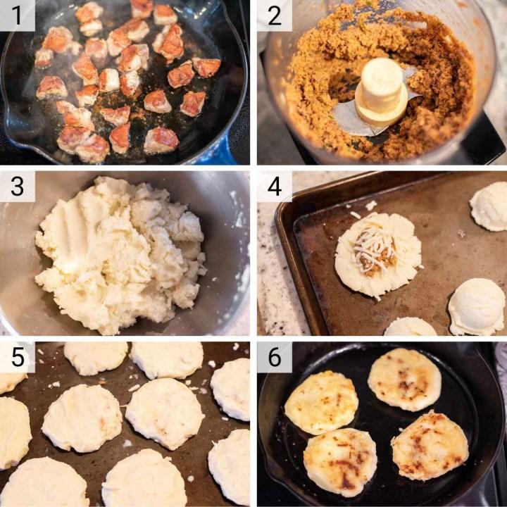 process shots of how to make pupusas