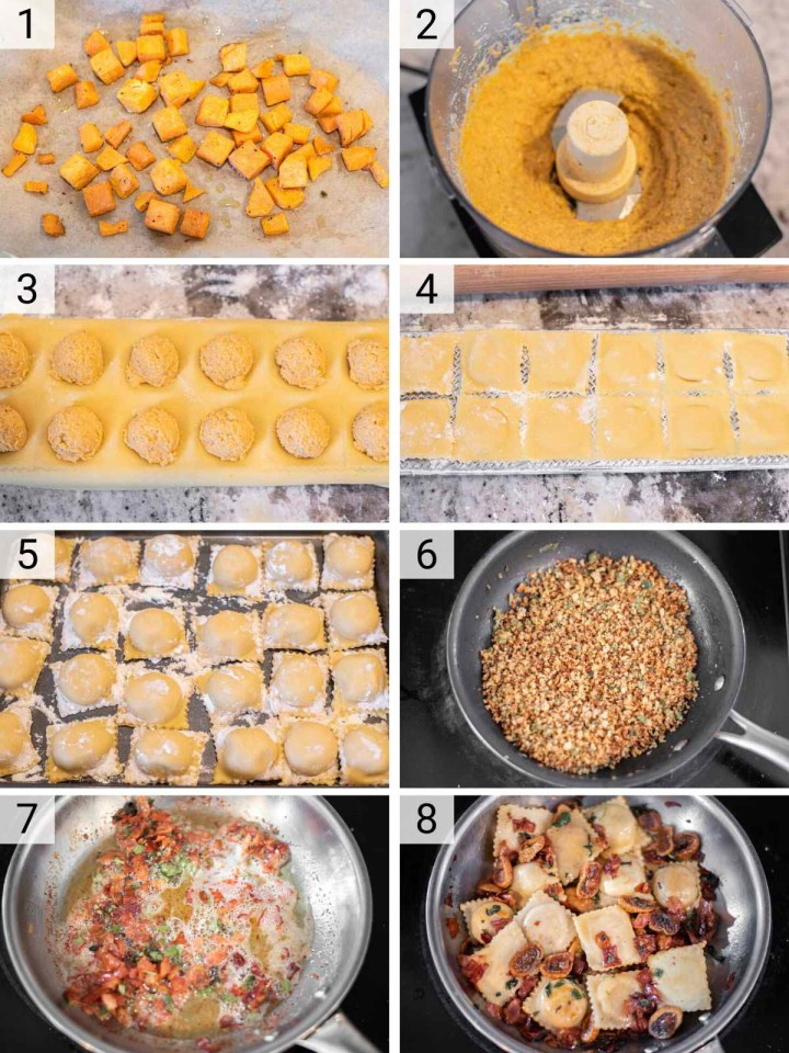 process shots of how to make butternut squash ravioli