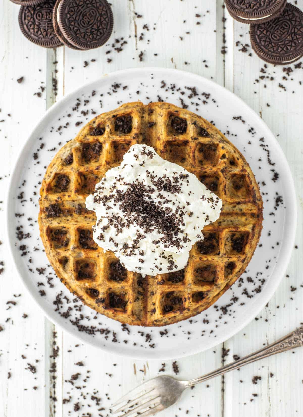 overhead shot of oreo waffle on white plate