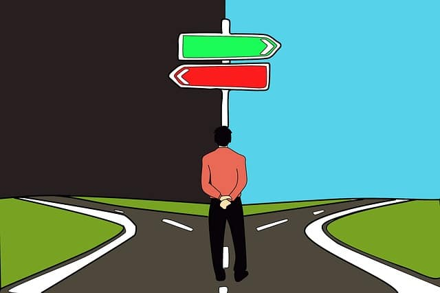 分かれ道の道路