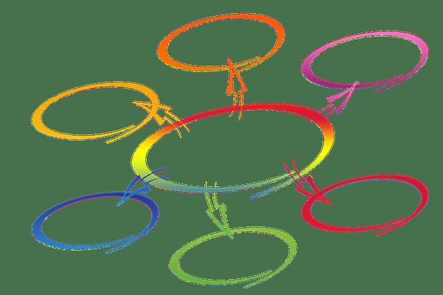 カラフルなネットワークのイラスト