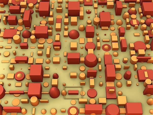 赤色とオレンジ色の様々な形のブロック