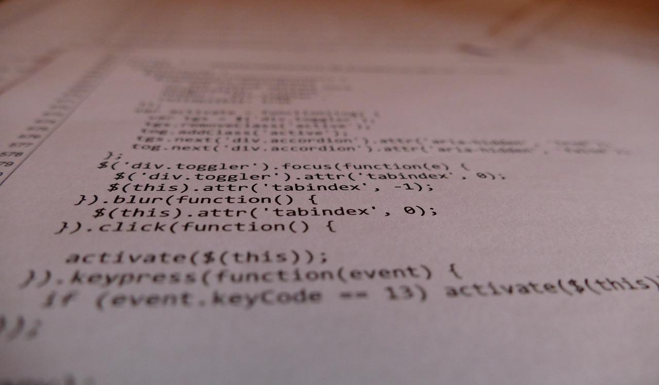 JavaScriptが記述されたモニター