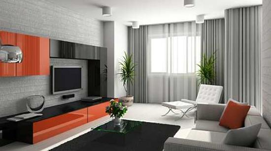 Modern interior. 3D render. Living-room. Exclusive design.