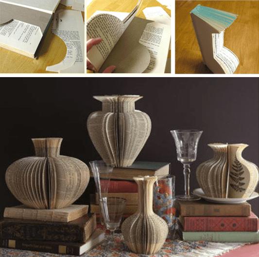 Vasi-tridimensionali-di-carta-realizzati-con-il-riciclo-dei-libri