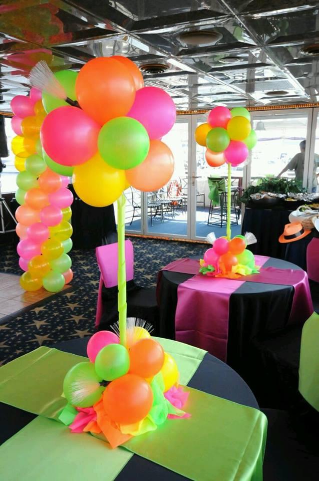 Decoraciones para fiestas con tem tica en neon - Decoraciones para fiestas ...