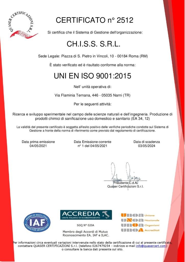 Certificazione ISO 9001 CHISS SRL