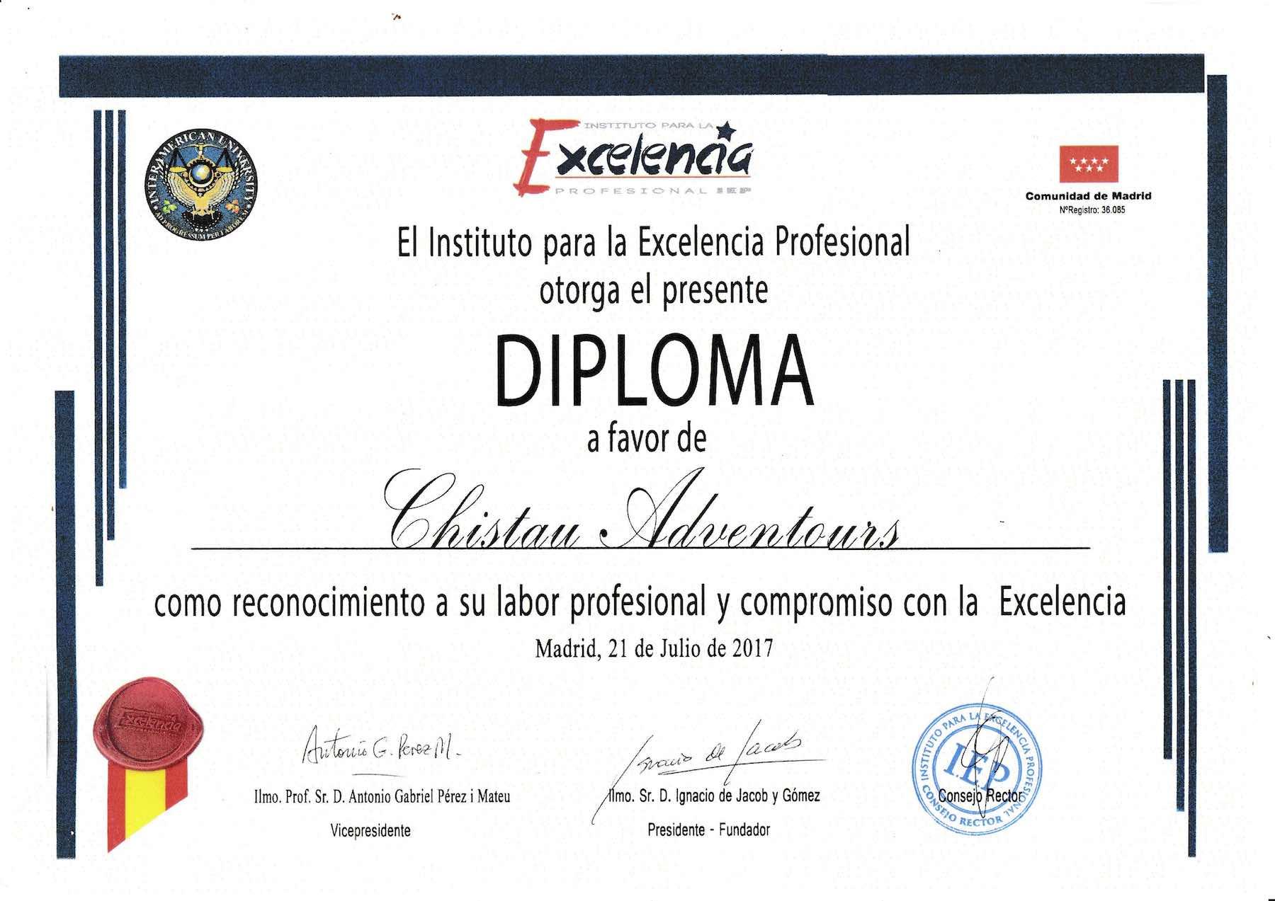 Diploma y Estrella de oro del Instituto para la Excelencia Profesional