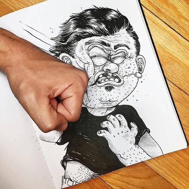 Художник влиза в директен сблъсък със рисувания си герой