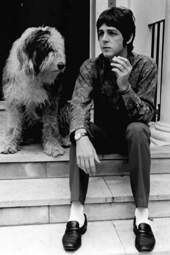 Paul McCartney and his sheepdog Martha