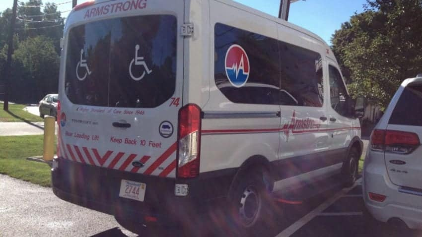 Police said this is a photo of the actual wheelchair van that was stolen. –Armstrong Ambulance via Melrose Police Department