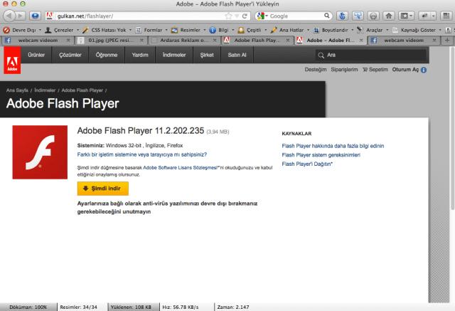 Sahte Adobe Flash Player yükleme sitesi