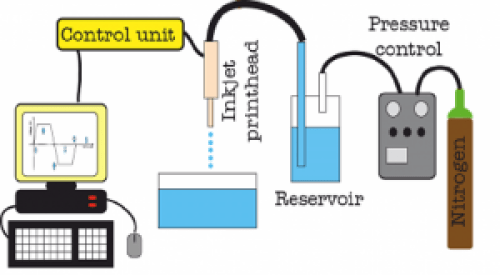 InkJet experimental setup. The control unit driven by software sends electric pulses of the required waveform to the piezoelectric actuator in printhead. This causes contraction of the piezoelectric crystal, which pumps the liquid from the orifice of the printhead capillary. The InkJet printhead is filled from a reservoir connected to a pressure control unit for stable pressure conditions during printing. Generated alginate droplets fall to a pool with a aqueous solution of CaCl2 where the gel particles are immediately created.