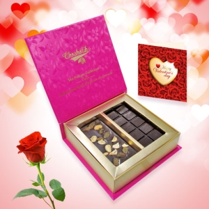 Fruit and Nut Chocolate Bar with Rose and Love Card