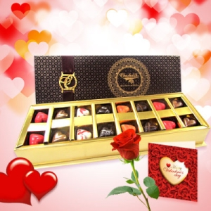 valentines Carnival Chocolates with Rose and Love Card