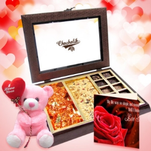 Lovable Chocolate With Lovable Teddy and card
