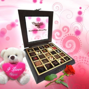 Sinfully Divine Assortment of Belgian Chocolates with a Huggable Teddy