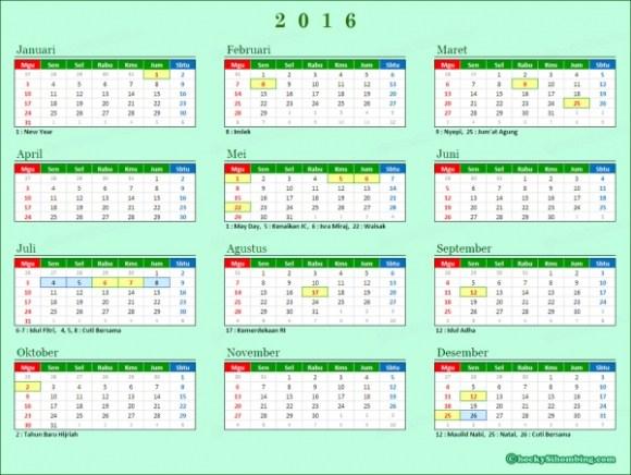 Kalender 2016 Indonesia Lengkap