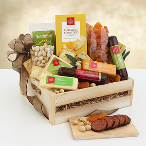 A Wooden Crate of Meat & Cheese Gifts