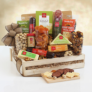 A Wooden Gift Crate of Meat & Cheese